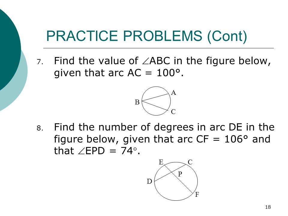 PRACTICE PROBLEMS (Cont)
