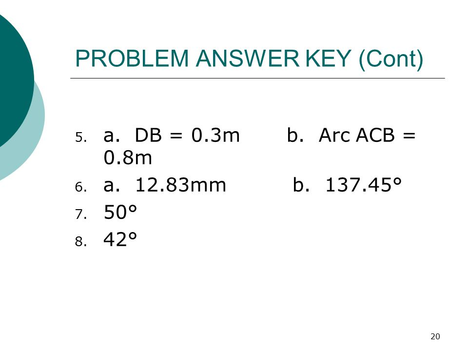 PROBLEM ANSWER KEY (Cont)