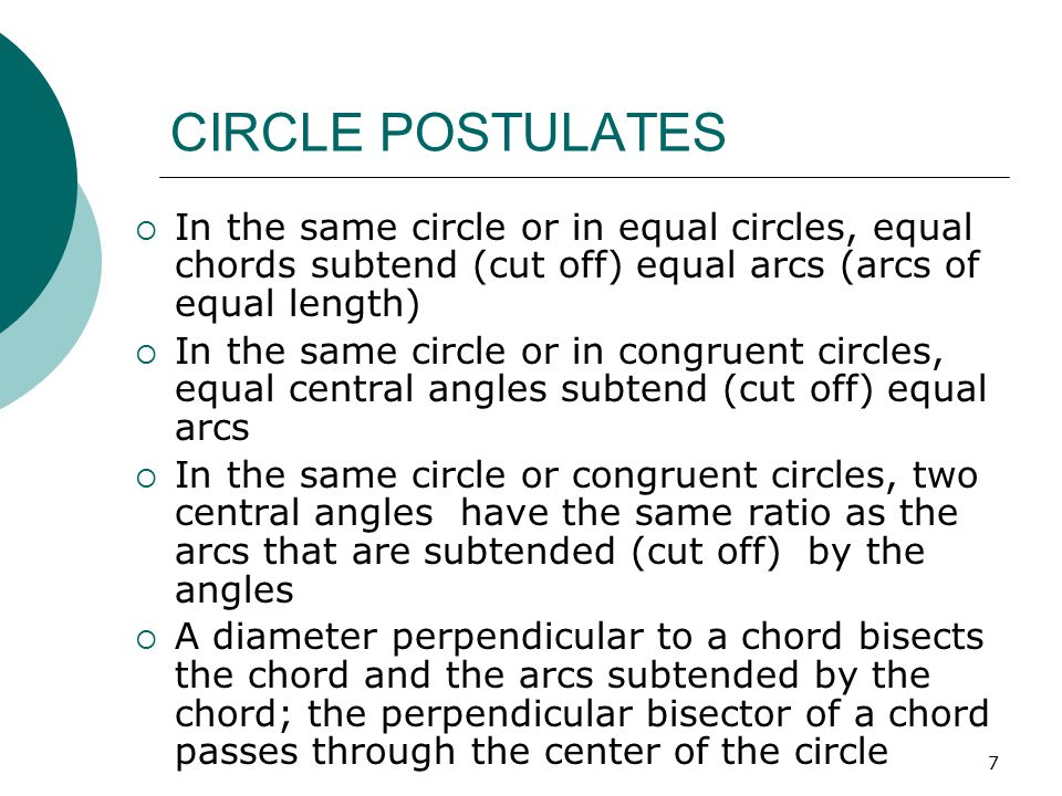 CIRCLE POSTULATES In the same circle or in equal circles, equal chords subtend (cut off) equal arcs (arcs of equal length)