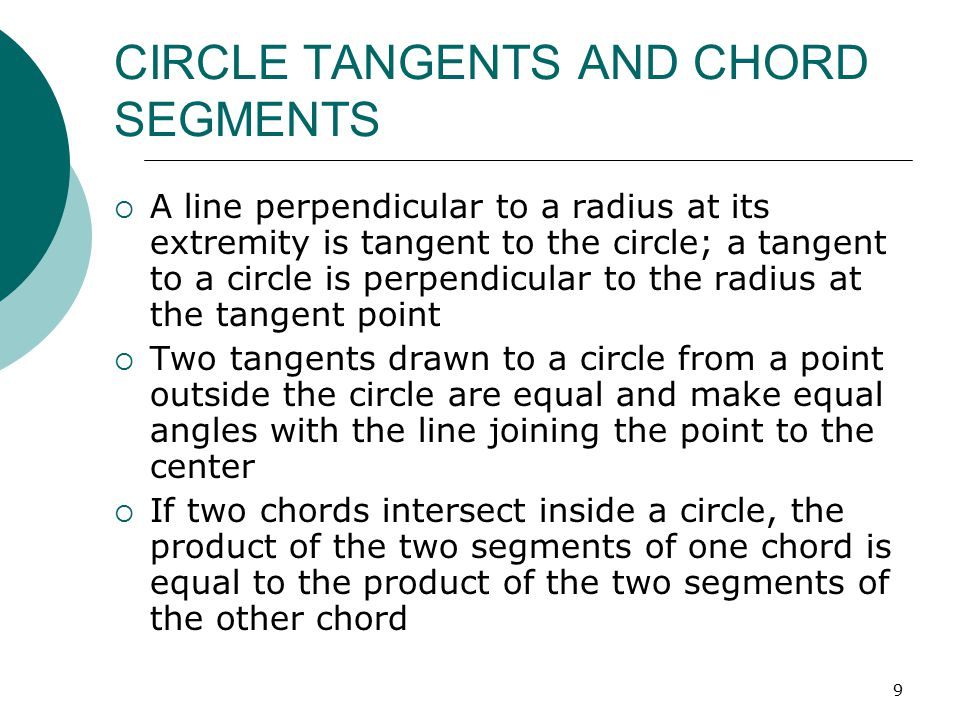 CIRCLE TANGENTS AND CHORD SEGMENTS