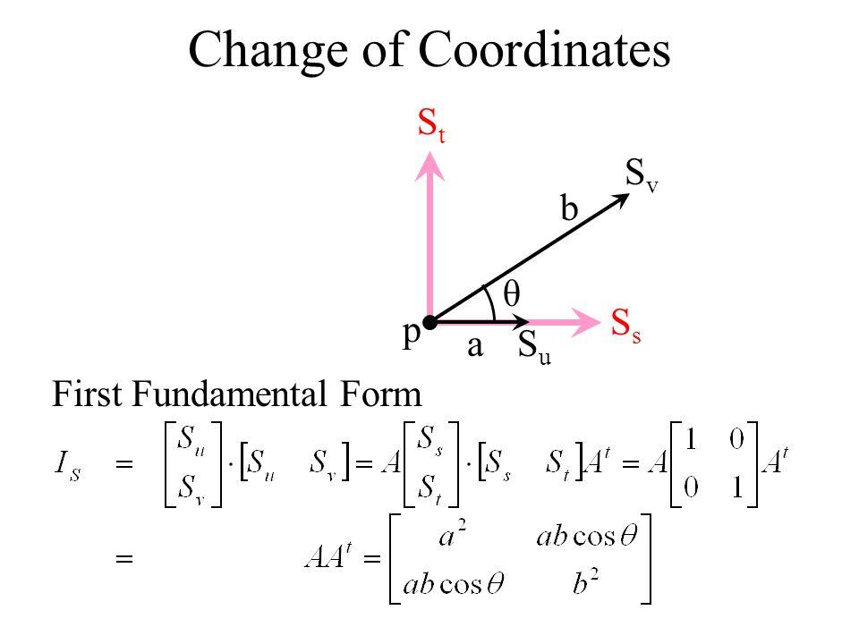 Change of Coordinates Ss St Sv b θ p a Su First Fundamental Form