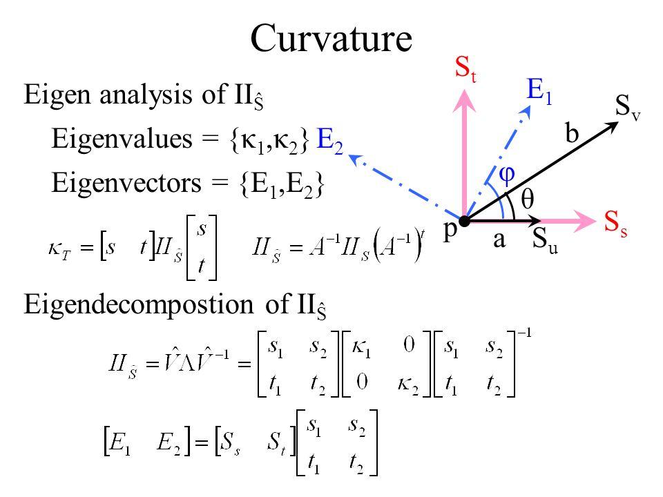 Curvature E1 E2 φ p Ss St Su Sv a b θ Eigen analysis of IIŜ