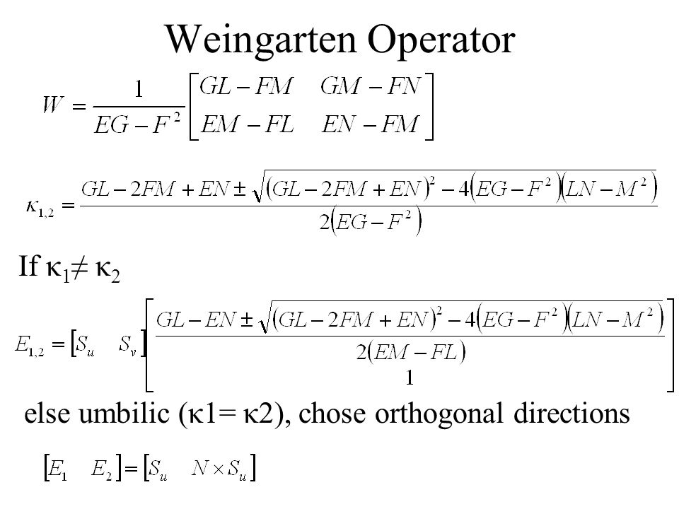 Weingarten Operator If κ1≠ κ2