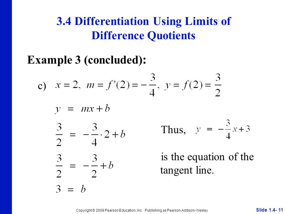 3.4 Differentiation Using Limits of Difference Quotients