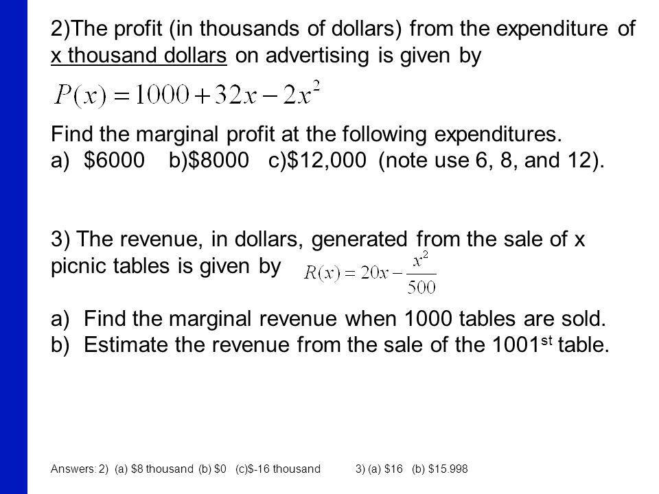 Find the marginal profit at the following expenditures.