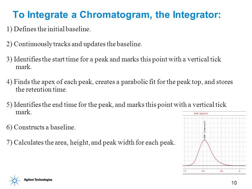 To Integrate a Chromatogram, the Integrator: