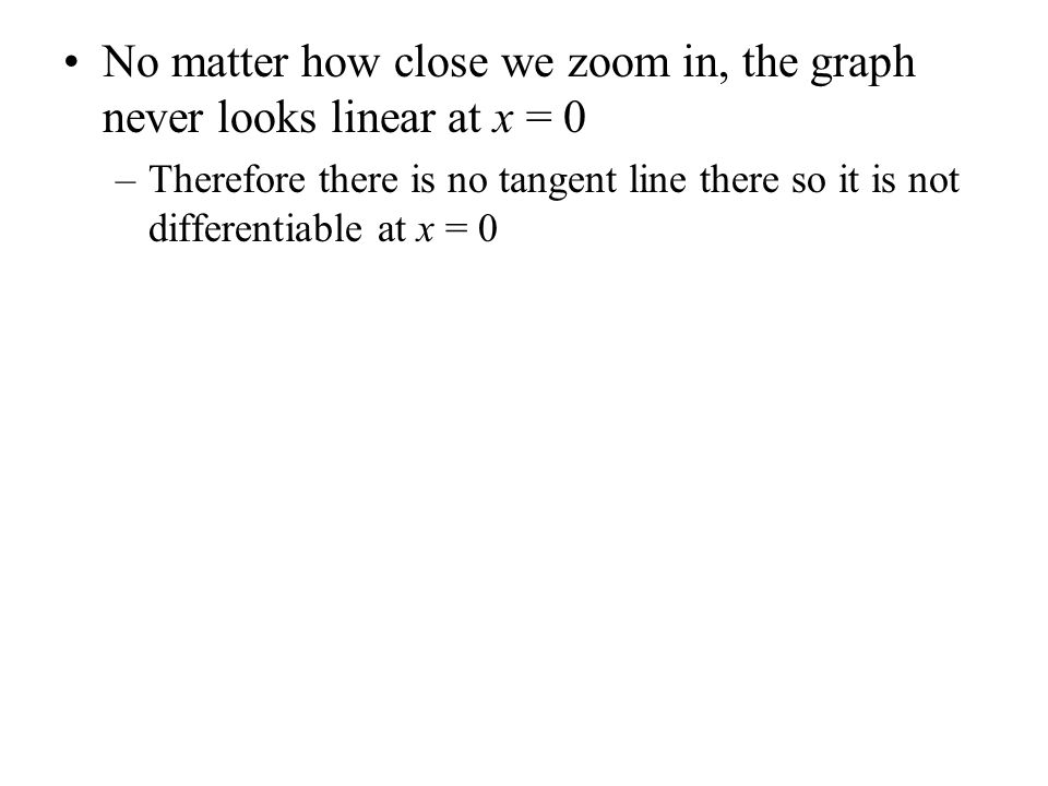No matter how close we zoom in, the graph never looks linear at x = 0