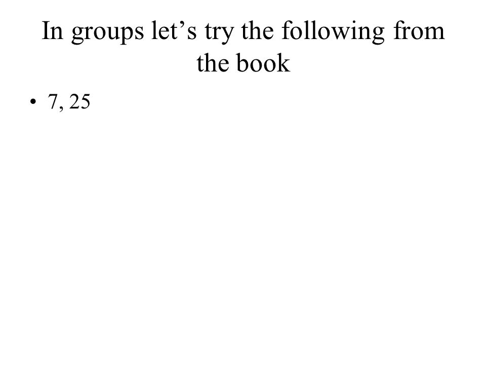 In groups let's try the following from the book