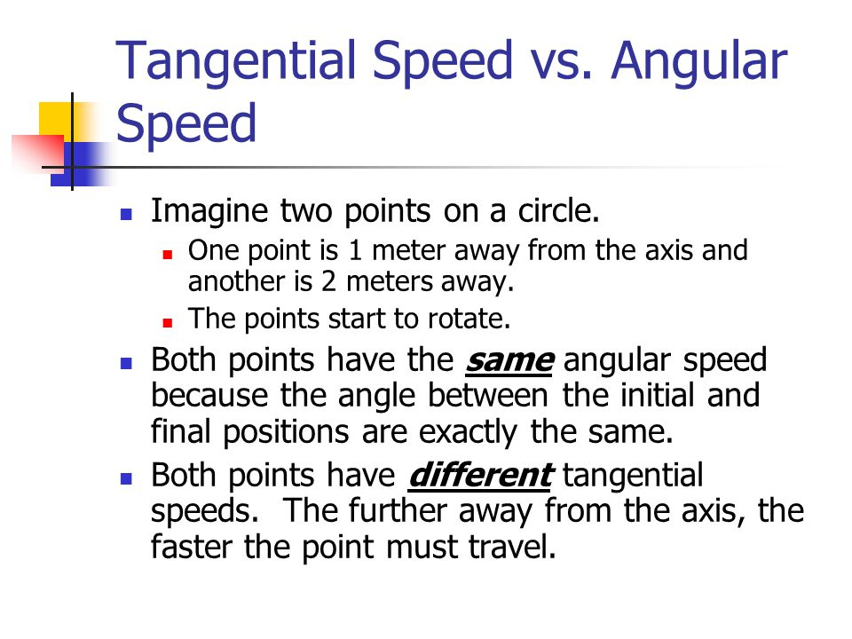 Tangential Speed vs. Angular Speed