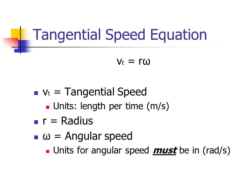 Tangential Speed Equation