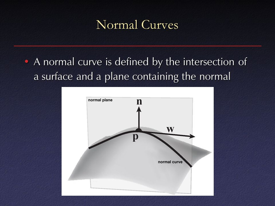 Normal Curves A normal curve is defined by the intersection of a surface and a plane containing the normal.