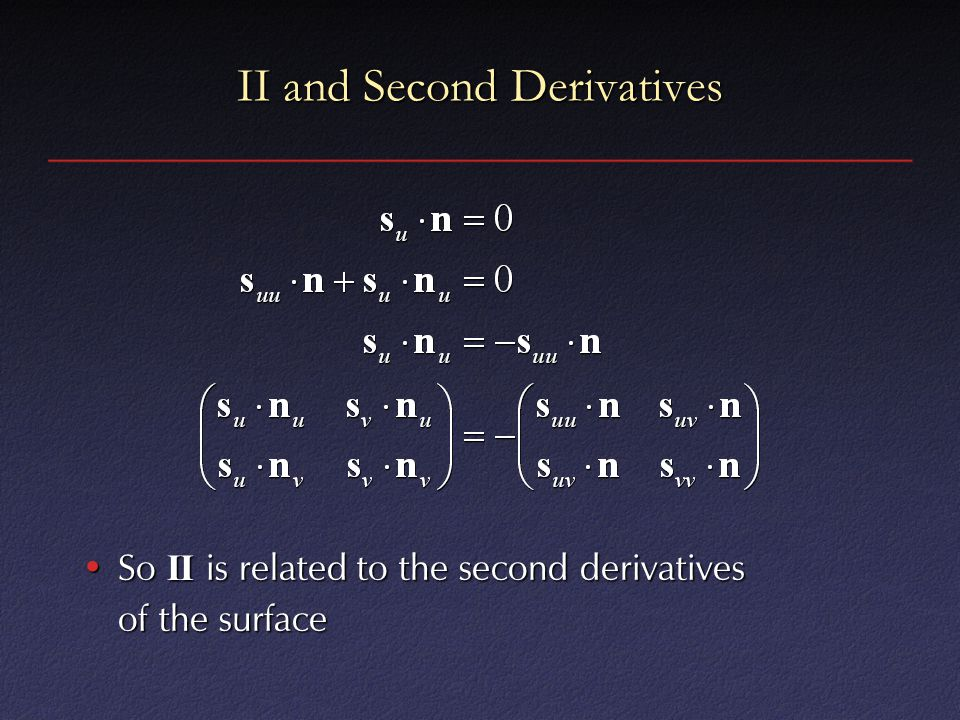 II and Second Derivatives