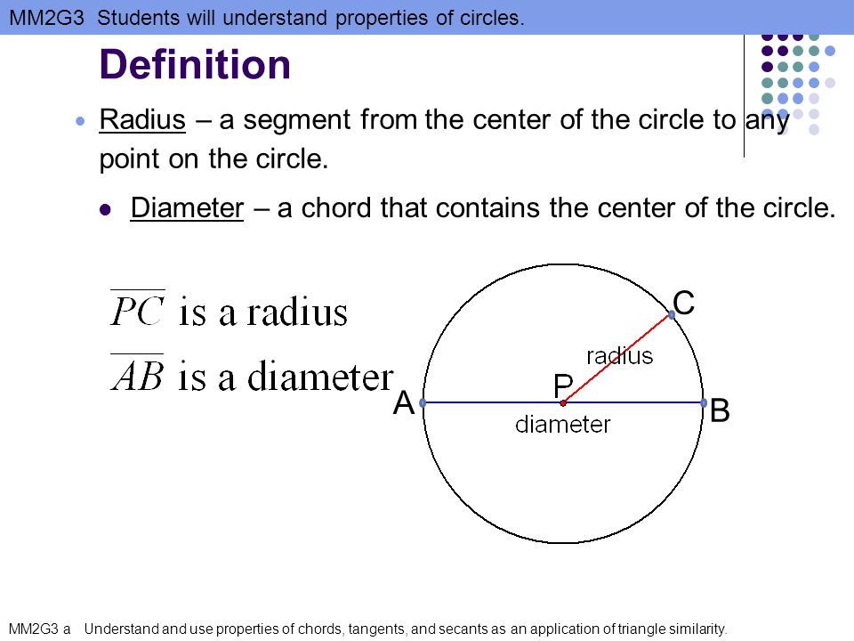 Definition Radius – a segment from the center of the circle to any point on the circle. Diameter – a chord that contains the center of the circle.