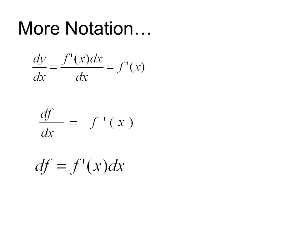 More Notation…