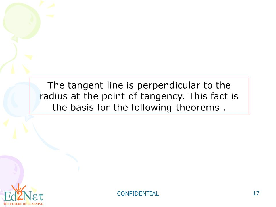The tangent line is perpendicular to the radius at the point of tangency. This fact is the basis for the following theorems .