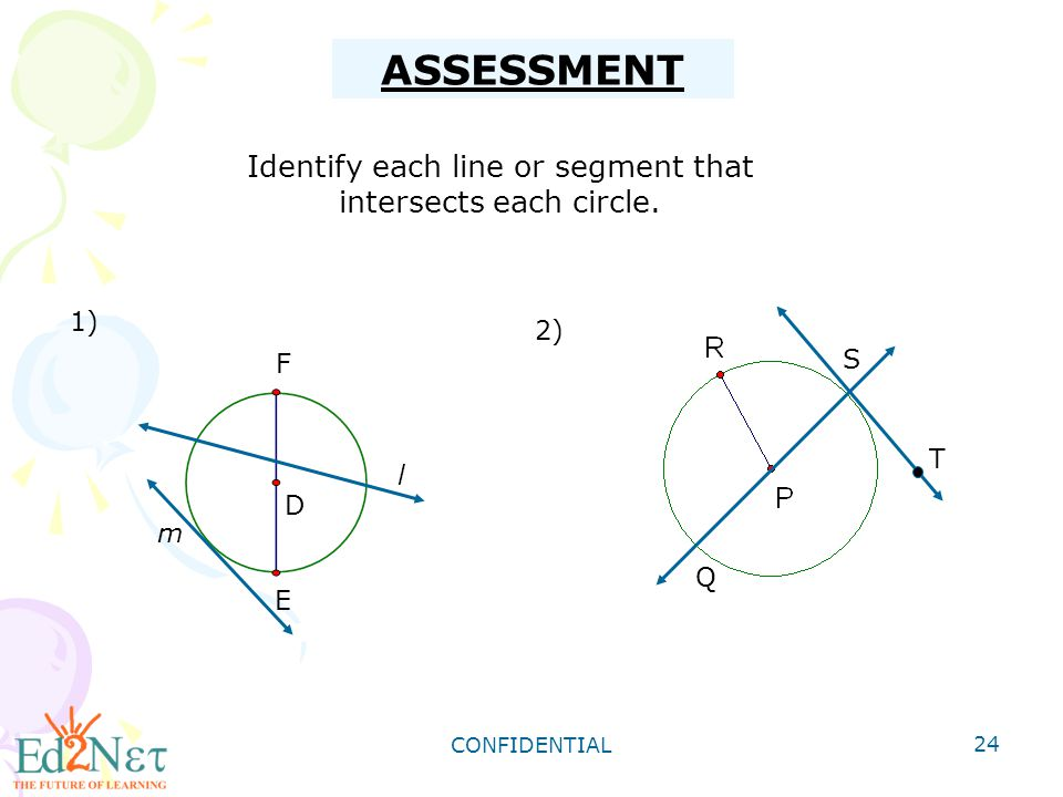 Identify each line or segment that intersects each circle.