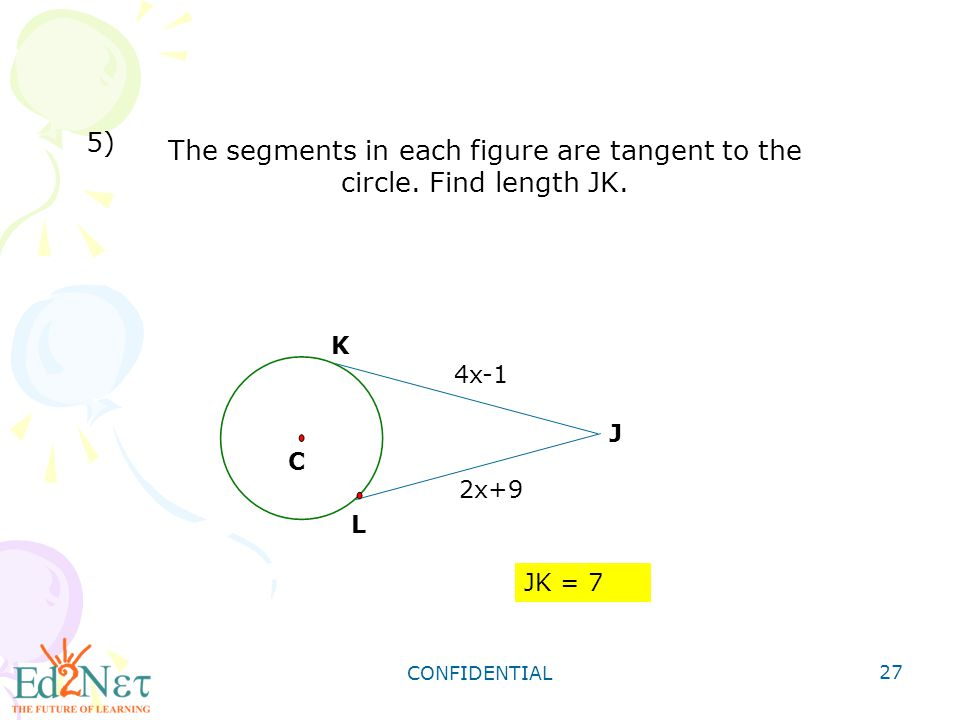 The segments in each figure are tangent to the circle. Find length JK.