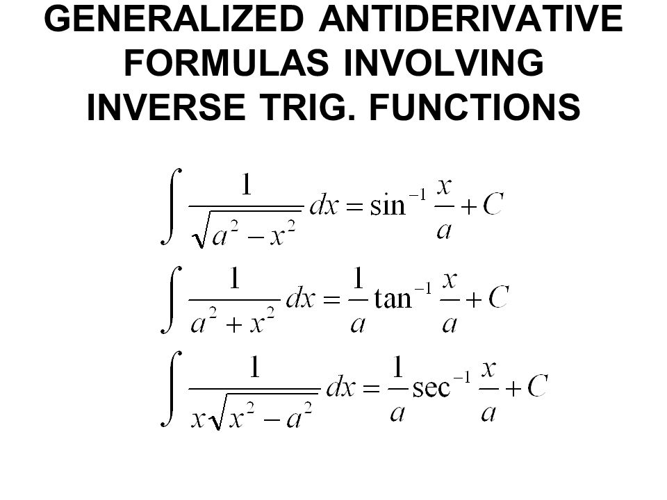 GENERALIZED ANTIDERIVATIVE FORMULAS INVOLVING INVERSE TRIG. FUNCTIONS