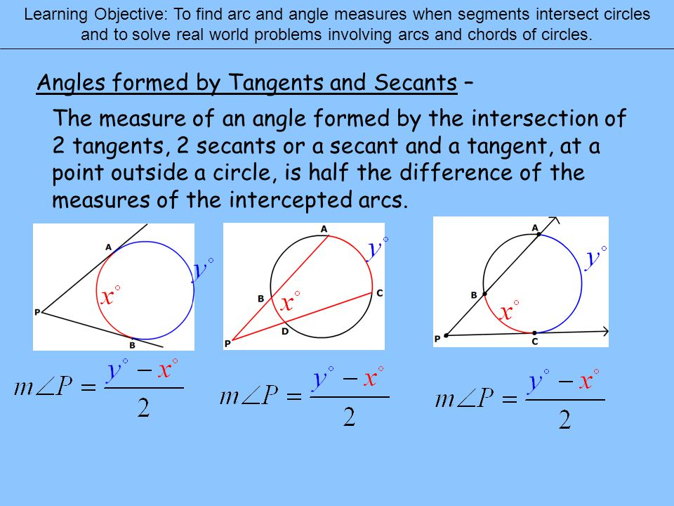 Angles formed by Tangents and Secants –