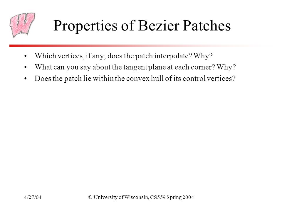 Properties of Bezier Patches