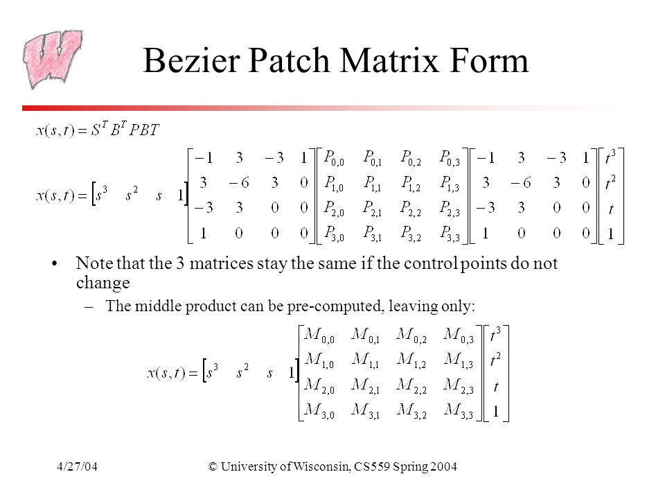 Bezier Patch Matrix Form
