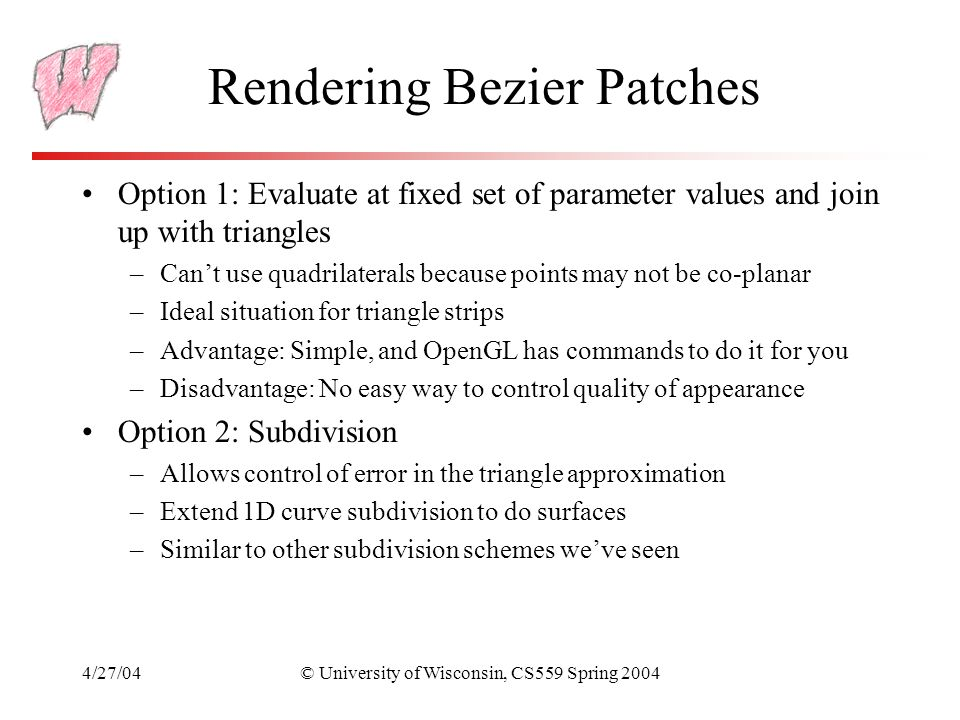 Rendering Bezier Patches