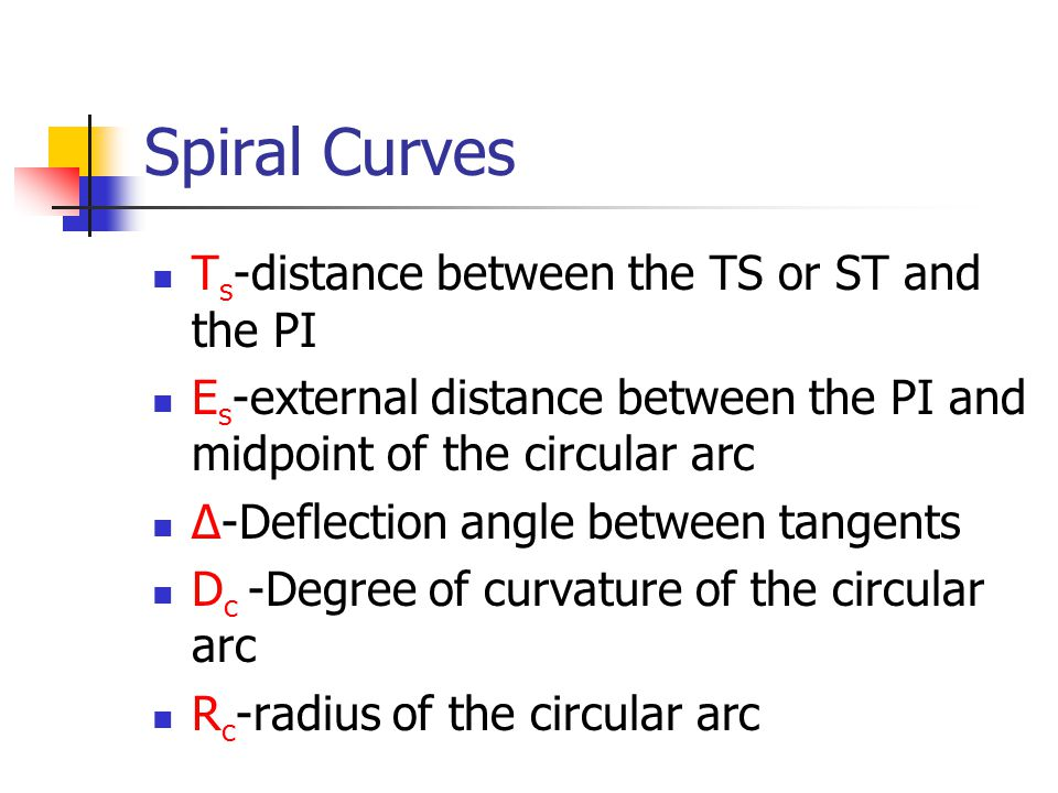 Spiral Curves Ts-distance between the TS or ST and the PI