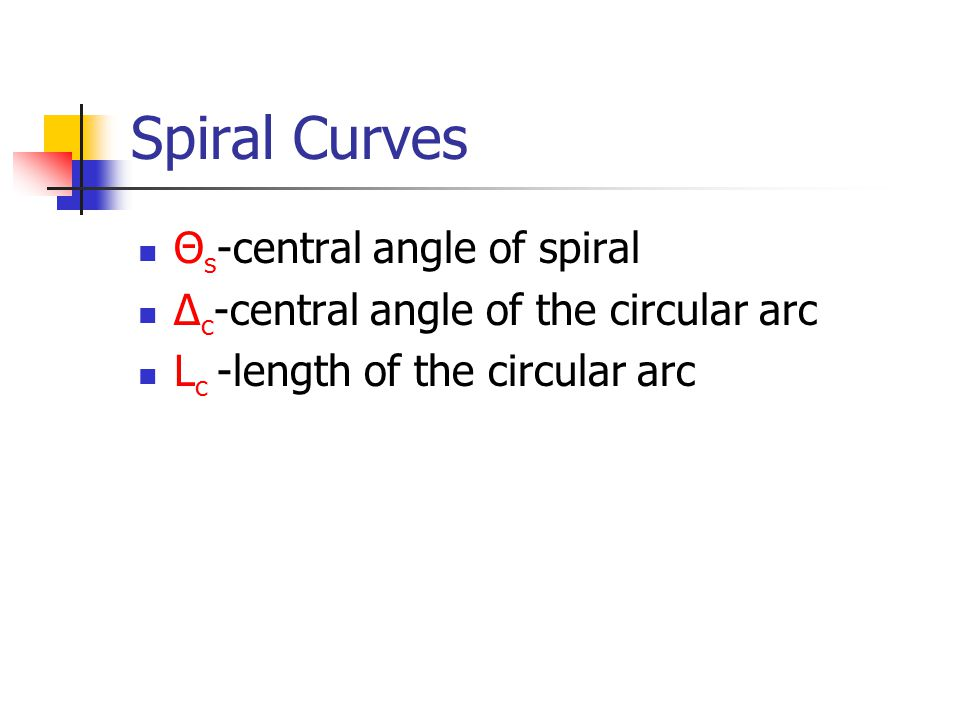 Spiral Curves Θs-central angle of spiral