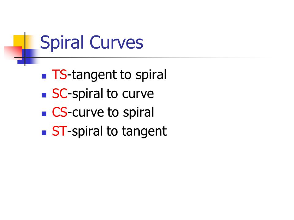 Spiral Curves TS-tangent to spiral SC-spiral to curve