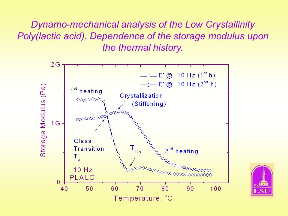 Dynamo-mechanical analysis of the Low Crystallinity Poly(lactic acid)