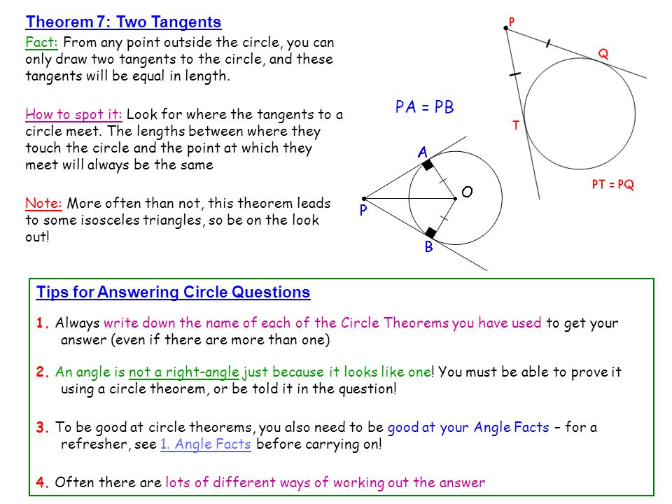 PA = PB Theorem 7: Two Tangents Tips for Answering Circle Questions