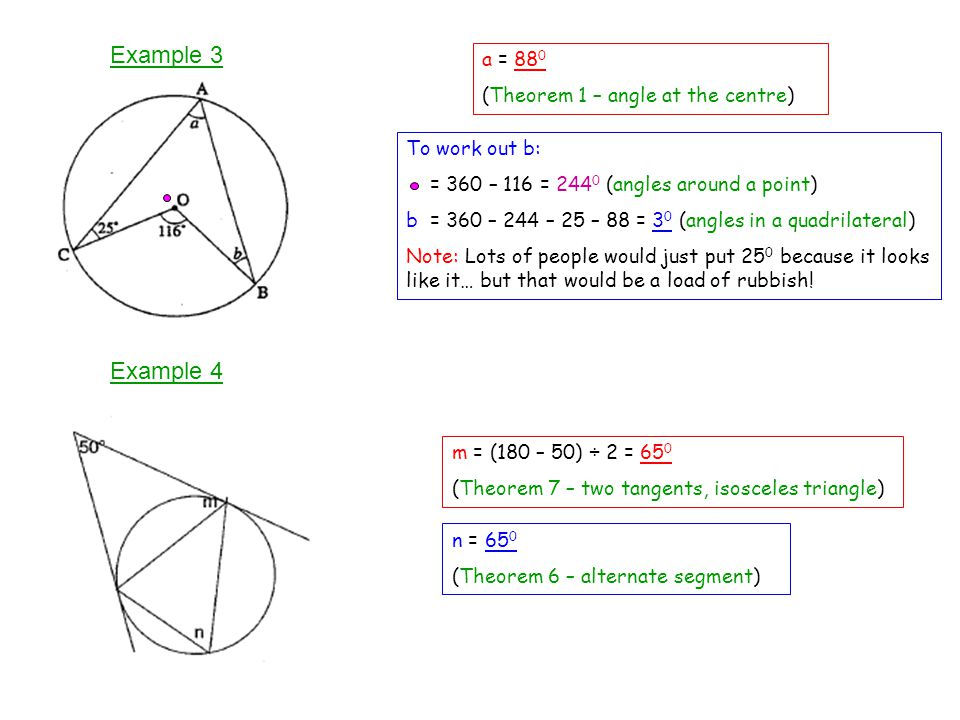 Example 3 Example 4 a = 880 (Theorem 1 – angle at the centre)