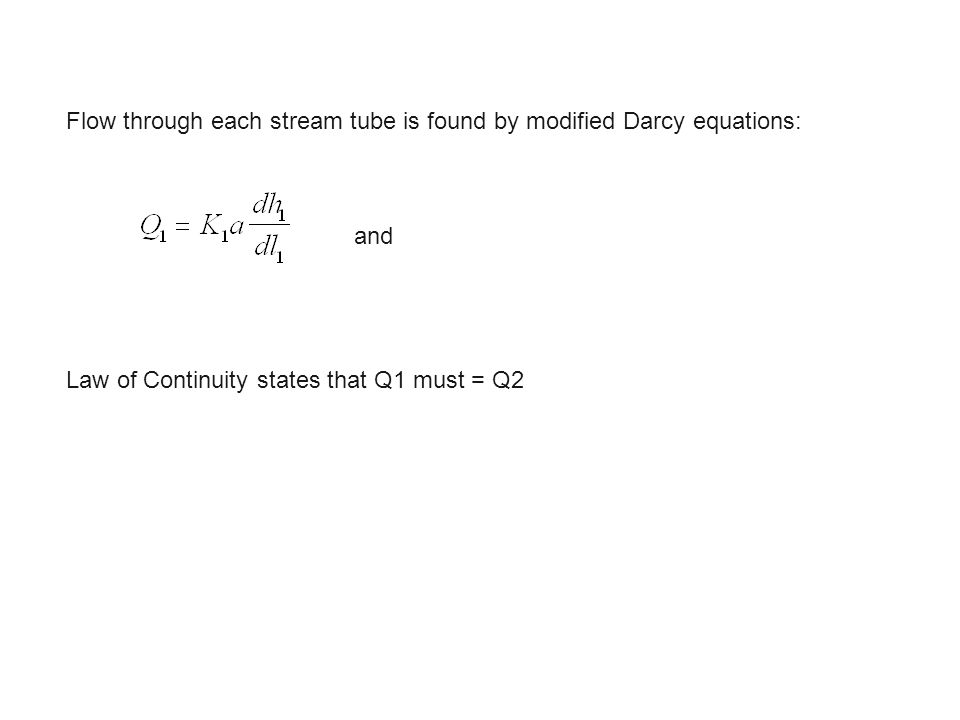 Flow through each stream tube is found by modified Darcy equations: