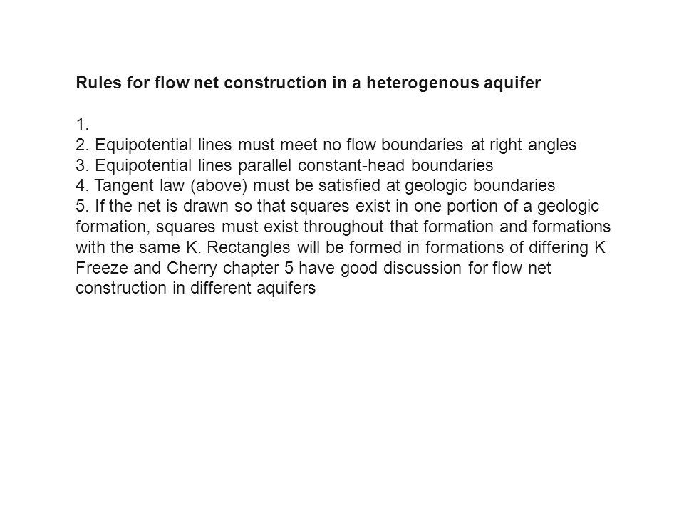 Rules for flow net construction in a heterogenous aquifer
