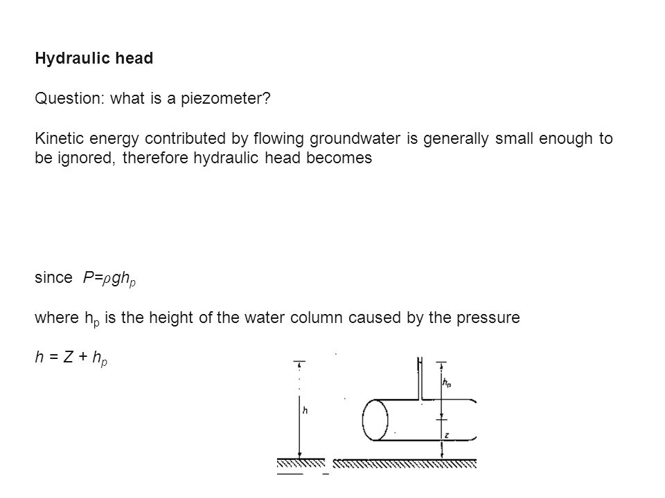 Hydraulic head Question: what is a piezometer