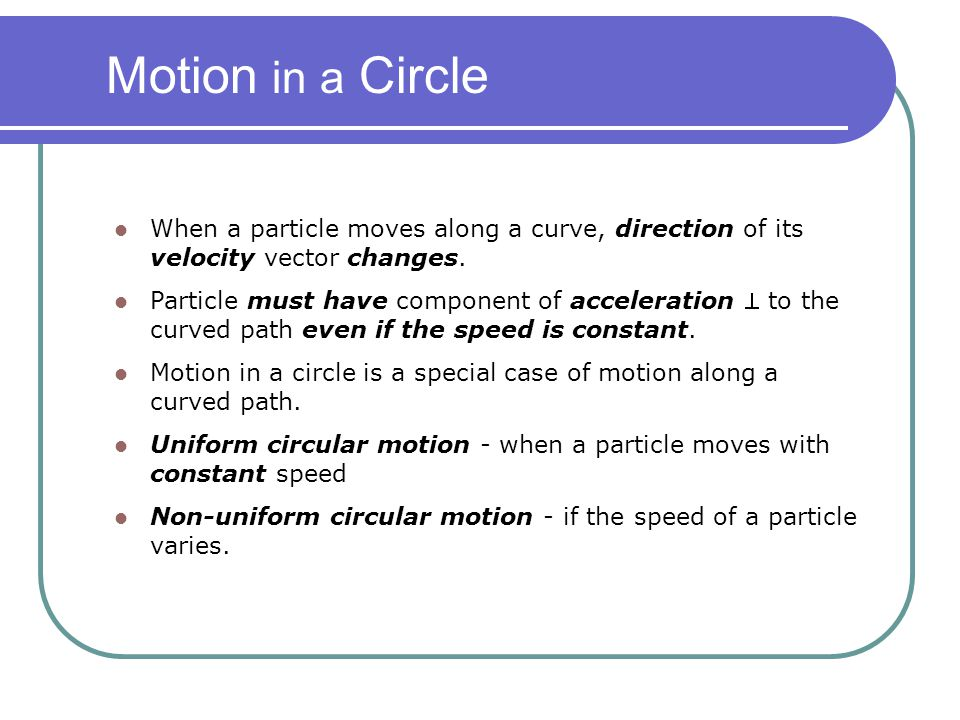 Motion in a Circle When a particle moves along a curve, direction of its velocity vector changes.
