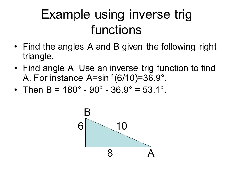 Example using inverse trig functions