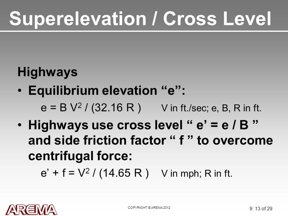Superelevation / Cross Level