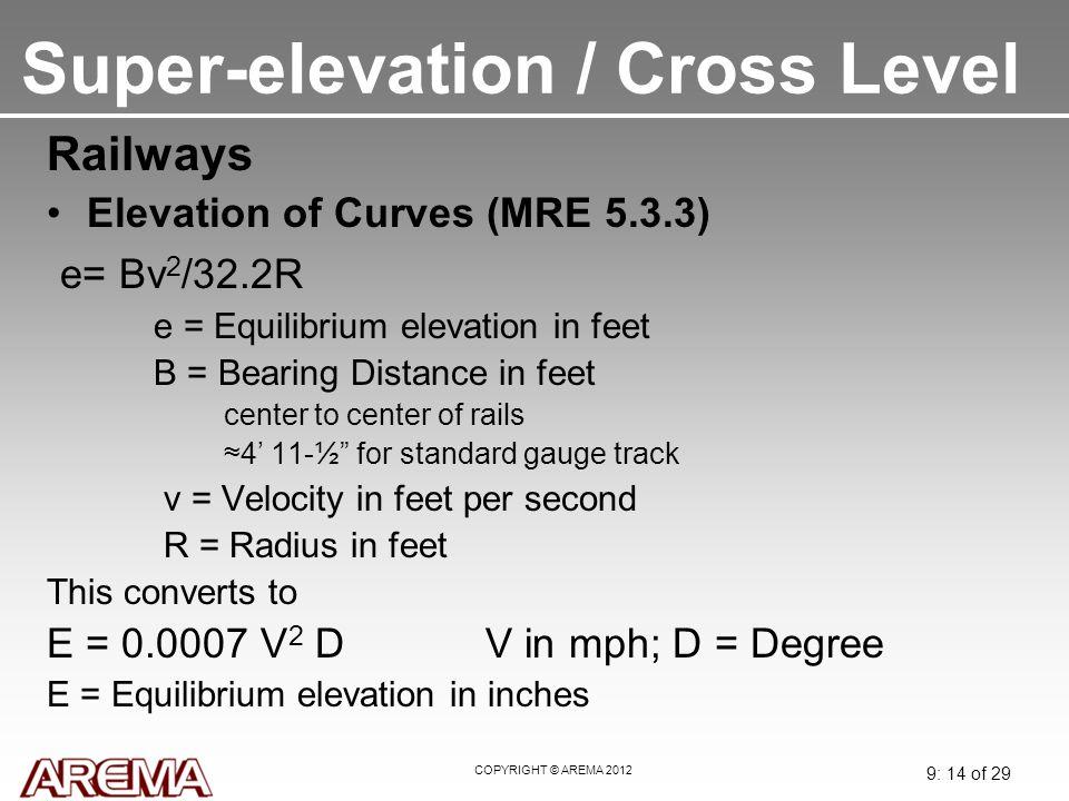 Super-elevation / Cross Level