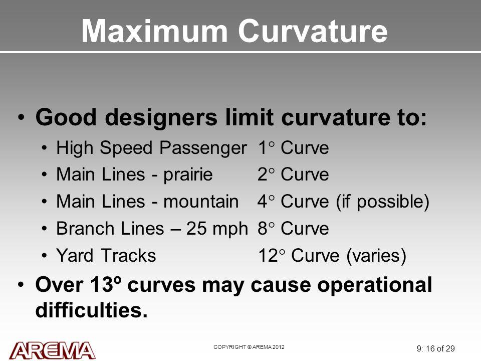 Maximum Curvature Good designers limit curvature to: