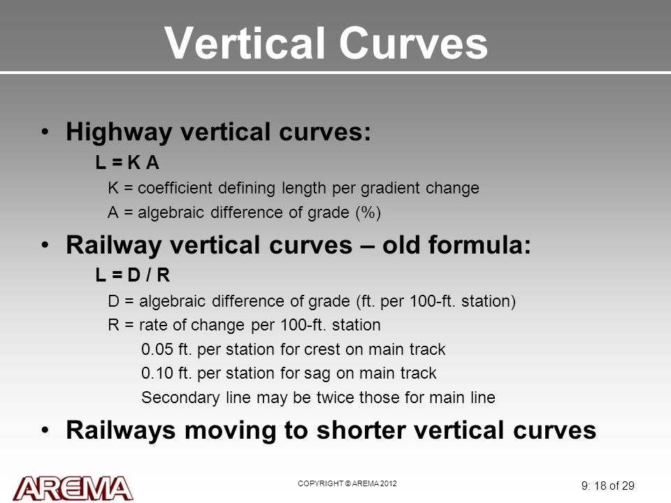 Vertical Curves Highway vertical curves: