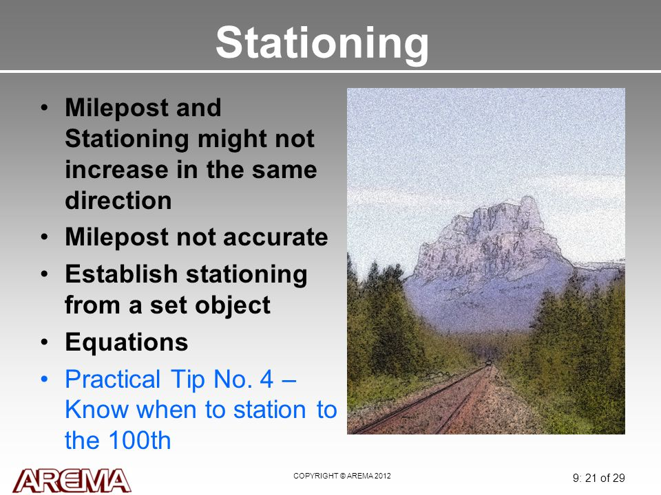 Stationing May 2008. Milepost and Stationing might not increase in the same direction. Milepost not accurate.