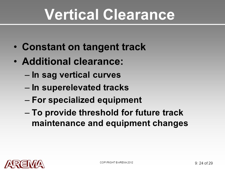 Vertical Clearance Constant on tangent track Additional clearance:
