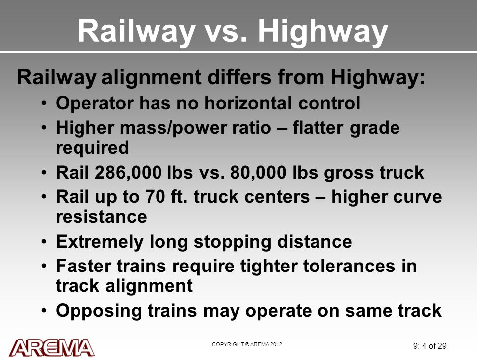 Railway vs. Highway Railway alignment differs from Highway: