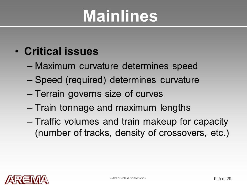 Mainlines Critical issues Maximum curvature determines speed