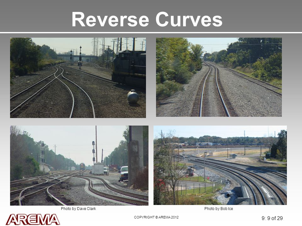 Reverse Curves May 2008. Upper left- the reverse curve is left from a track rationalization which restricts the speed of the train to 10 MPH.