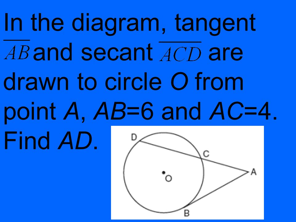 In the diagram, tangent and secant are drawn to circle O from point A, AB=6 and AC=4. Find AD.