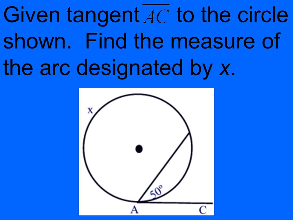 Given tangent to the circle shown