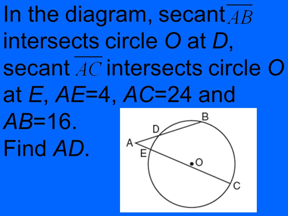 In the diagram, secant intersects circle O at D, secant intersects circle O at E, AE=4, AC=24 and AB=16.