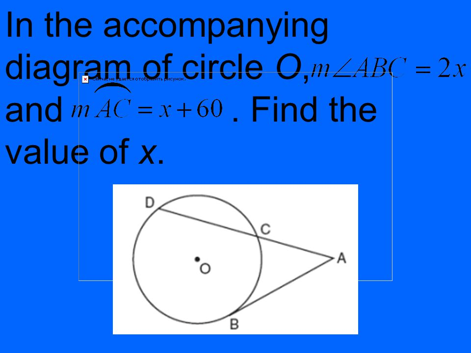 In the accompanying diagram of circle O, and . Find the value of x.